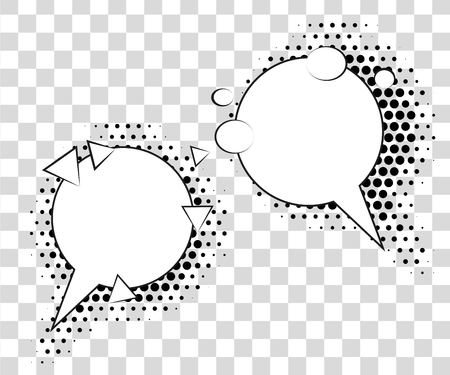 Comic speech bubbles with halftone shadows. Vector illustration eps 10 isolated on background. Illustration