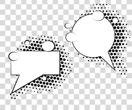 Comic speech bubbles with halftone shadows