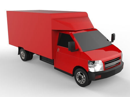 Small red truck. Car delivery service. Delivery of goods and products to retail outlets. 3d rendering.