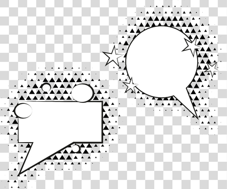 dynamite: Comic speech bubbles with halftone triangles shadows. Vector illustration eps 10 isolated on background.