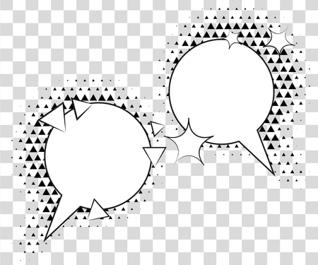 Comic speech bubbles with halftone triangles shadows. Stock Photo