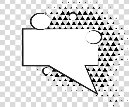 Comic speech bubbles with halftone triangles shadows Stock Photo