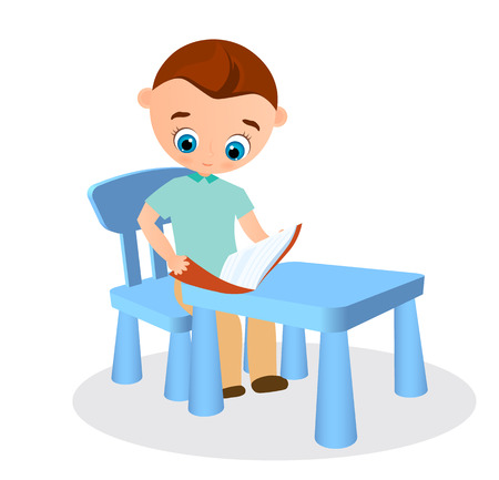 Young boy with glasses reads sitting at a school desk. Vector illustration eps 10. Flat cartoon style.