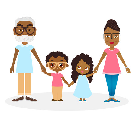 hold hands: African american Grandparents with grandson and granddaughter. Happy African american family hold hands. Illustration