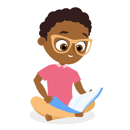 African American boy with glasses. Young boy reading a book sitting on the floor. Flat cartoon style