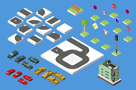 Impostare strada isometrico e Vector Auto, il traffico stradale Common regolamentare. Eps di illustrazione vettoriale 10 isolato su sfondo bianco Vettoriali
