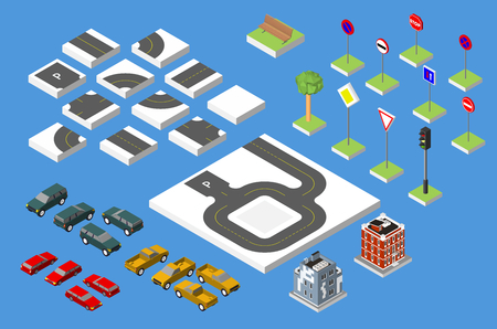 tarmac: Set Isometric road and Vector Cars, Common road traffic regulatory. Vector illustration eps 10 isolated on white background Illustration