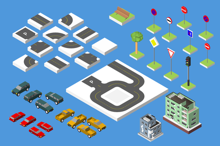 road works ahead: Set Isometric road and Vector Cars, Common road traffic regulatory. Vector illustration eps 10 isolated on white background Illustration