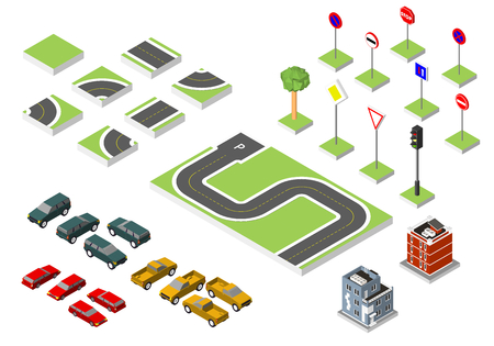 asphalt texture: Set Isometric road and Vector Cars, Common road traffic regulatory. Vector illustration eps 10 isolated on white background Stock Photo