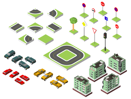 road works ahead: Set Isometric road and Vector Cars, Common road traffic regulatory. Vector illustration eps 10 isolated on white background Stock Photo