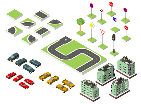 Set Isometric road and Vector Cars, Common road traffic regulatory. Vector illustration eps 10 isolated on white background Illustration
