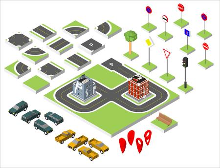 asphalt texture: Set Isometric road and Vector Cars, Common road traffic regulatory. Vector illustration eps 10 isolated on white background Illustration