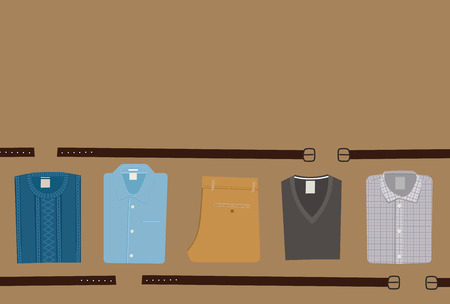 cutthroat: Clothes Fashion background. Menswear concept. Flat style Men Clothing Vector illustration eps 10 Illustration