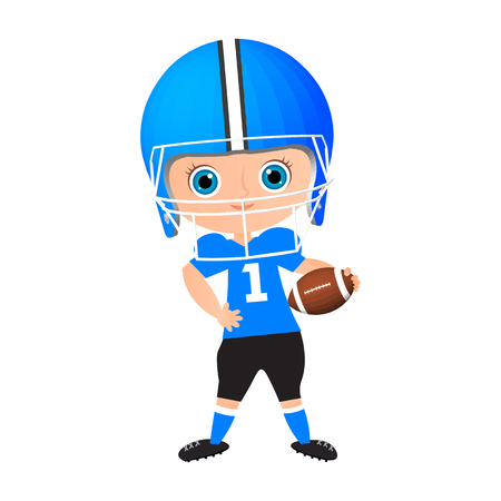 Young Boy. Kid playing American football. Vector illustration isolated on white background. Flat cartoon style Illustration