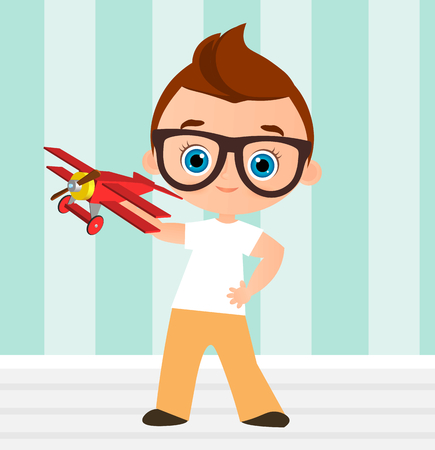 Young Boy with glasses and toy plane. Boy playing with airplane. Vector illustration isolated on white background. Flat cartoon style Illustration
