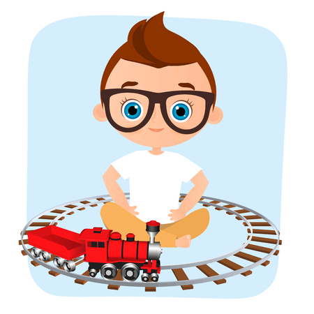 Young Boy with glasses and toy train. Boy playing with train. Vector illustration isolated on white background. Flat cartoon style