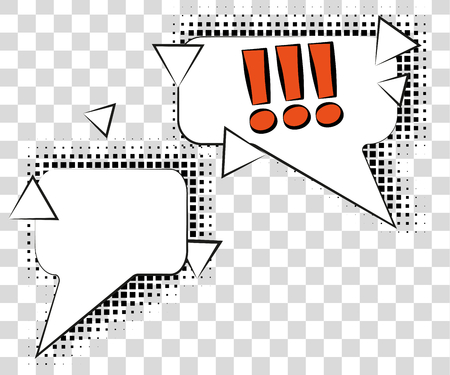 Comic speech bubbles with halftone shadows. Vector illustration isolated on background