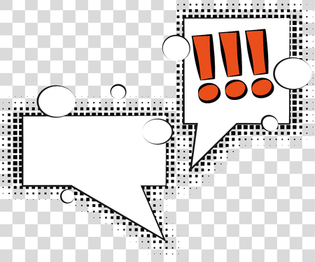 snapping: Comic speech bubbles with halftone shadows. Vector illustration isolated on background
