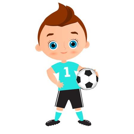 Junge Kind Fussball Zu Spielen Vektorabbildung Getrennt