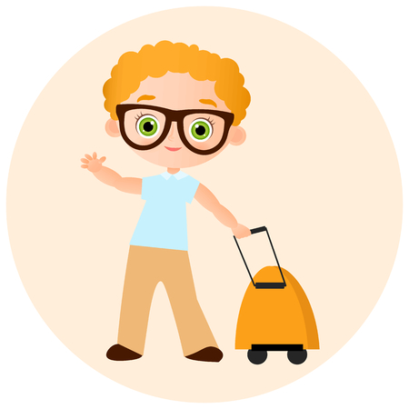 packsack: Young Boy with glasses and packsack travel. Travelling with the knapsack. Vector illustration isolated on white background. Flat cartoon style