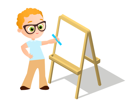 Isometric easel. Young boy with glasses Drawing Whiteboard. Paint desk and white paper isolated on white background. Vector illustration Illustration
