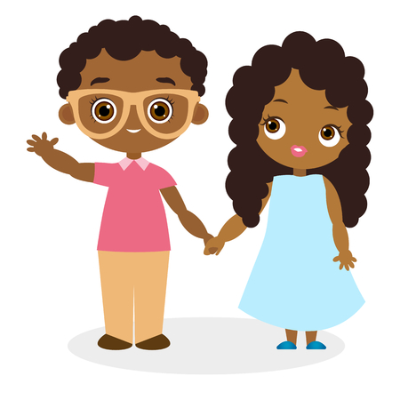 African American girl and young african american boy with glasses. Vector illustration eps 10 isolated on white background. Flat cartoon style