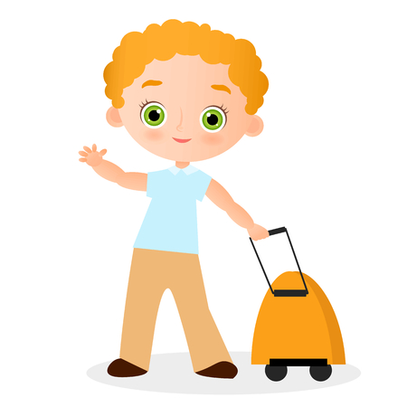 Young Boy with glasses and packsack travel. Travelling with the knapsack. Vector illustration isolated on white background. Flat cartoon style