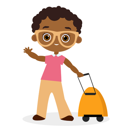 packsack: African American boy with glasses and packsack travel. Travelling with the knapsack. Vector illustration eps 10 isolated on white background. Flat cartoon style Illustration