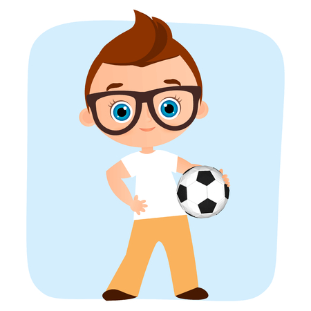 star field: Young Boy. Kid playing football. Vector illustration isolated on white background. Flat cartoon style