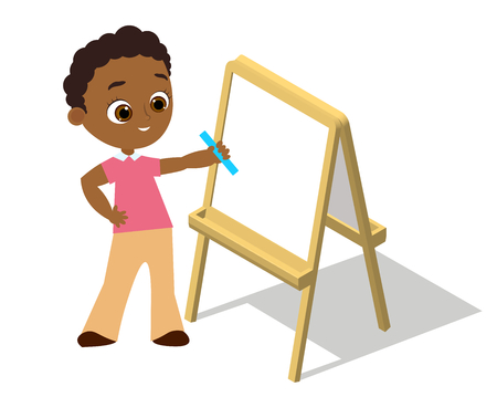 Isometric easel. Young african american boy with glasses Drawing Whiteboard. Paint desk and white paper isolated on white background. Vector illustration