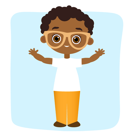 little one: African American boy with glasses.Vector illustration  isolated on white background. Flat cartoon style.