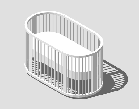 Isometric round white cot. Baby Crib. Modern nurse design. Vector illustration  isolated
