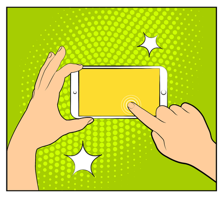 eps vector art: Comic phone with halftone shadows. Hand holding smartphone. Pop art retro style. Flat design. Vector illustration eps 10.