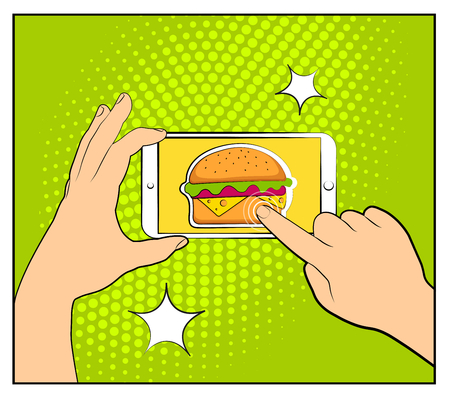 Comic phone with halftone shadows and Hamburger. Hand holding smartphone with buy online internet shopping. Fast food background. Pop art retro style. Flat design. Vector illustration. Illustration