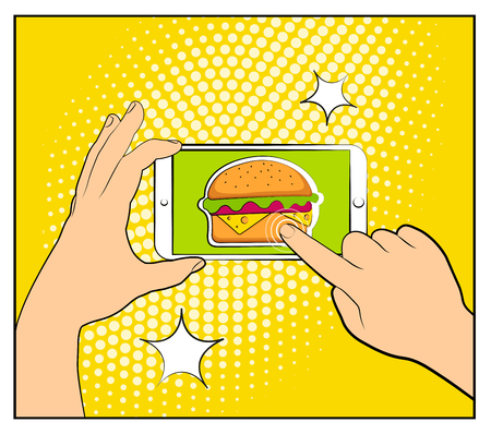 Comic phone with halftone shadows and Hamburger. Hand holding smartphone with buy online internet shopping. Fast food background. Pop art retro style. Flat design. Vector illustration