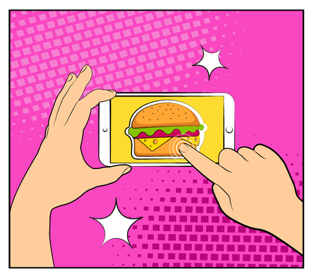 hit tech: Comic phone with halftone shadows and Hamburger. Hand holding smartphone with buy online internet shopping. Fast food background. Pop art retro style. Flat design. Vector illustration
