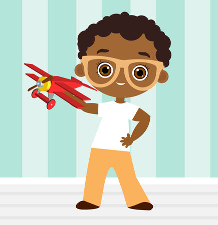 baby playing toy: African American boy with glasses and toy plane. Boy playing with airplane. Vector illustration isolated on white background. Flat cartoon style