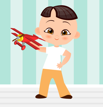 baby playing toy: Japanese boy with toy plane. Boy playing with airplane. Vector illustration isolated on white background. Flat cartoon style