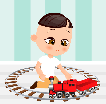 Japanese boy with toy train. Boy playing with train. Vector illustration isolated on white background. Flat cartoon style