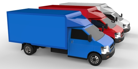 Small white red blue truck Car delivery service Delivery of goods and products to retail outlets 3d rendering