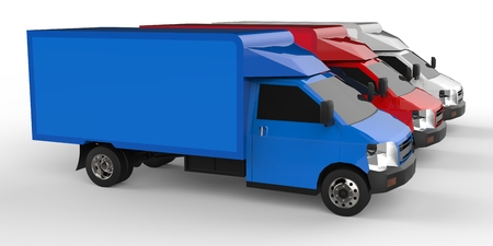 Small white, red, blue truck. Car delivery service. Delivery of goods and products to retail outlets. 3d rendering.