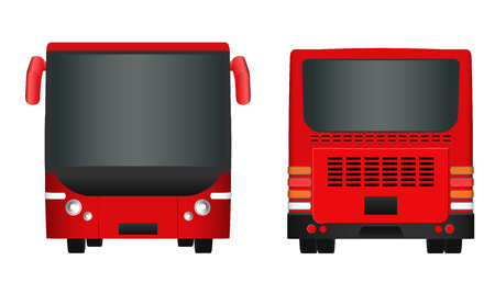 sides: City passenger transport bus sides view from back and front.