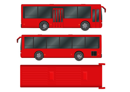 Red City bus template. Passenger transport. Vector illustration eps 10 isolated on white background. Illustration