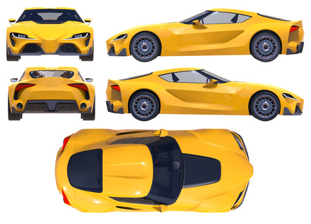 The conceptual sports car of the near future. 3d illustration.