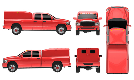 red pickup truck template isolated car on white background 3d