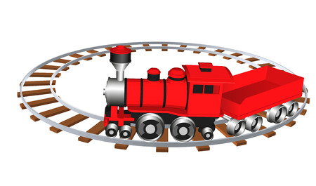 Toy train. Vector illustration eps 10 isolated on white background. Cartoon style