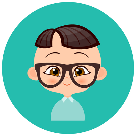 Faces Avatar in circle. Portrait young Japanese boy with glasses. Vector illustration eps 10. Flat cartoon style Illustration