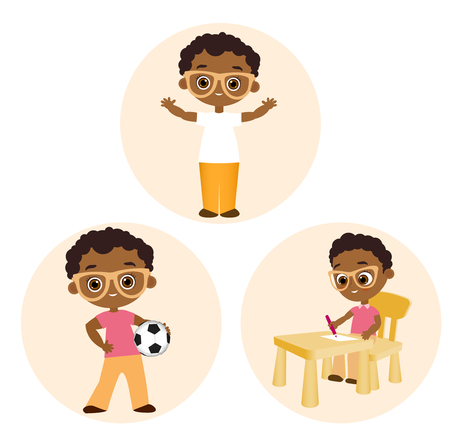 Set African American boy with glasses.Vector illustration eps 10 isolated on white background. Flat cartoon style
