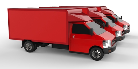 Three little red truck.. Car delivery service. Delivery of goods and products to retail outlets. 3d rendering.