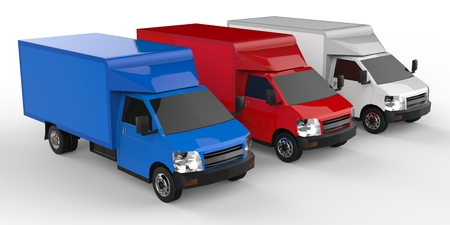 Small white, red, blue truck. Car delivery service. Delivery of goods and products to retail outlets. 3d rendering Stock Photo